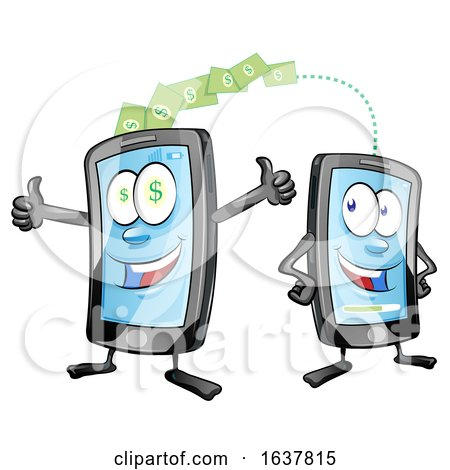 Cartoon Smart Phone Mascots Transferring Money by Domenico Condello