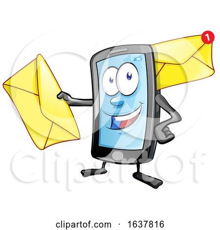 Cartoon Smart Phone Mascot with Envelopes by Domenico Condello