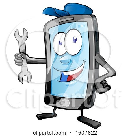 Cartoon Smart Phone Mascot Mechanic by Domenico Condello
