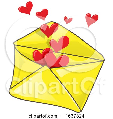 Yellow Envelope with Hearts by Domenico Condello
