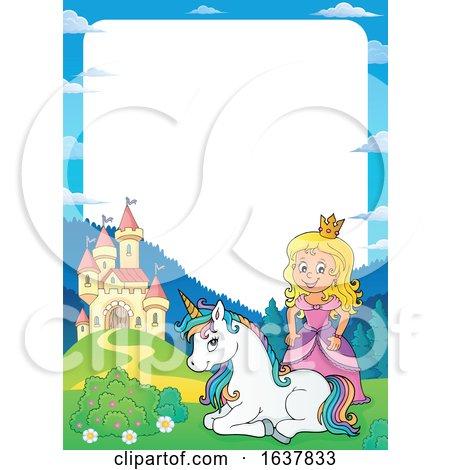 Princess Castle and Unicorn Border by visekart
