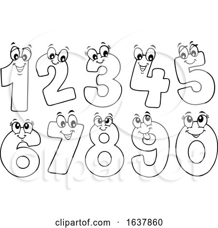 Black and White Happy Numbers by visekart