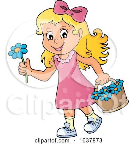 Girl Picking Flowers by visekart