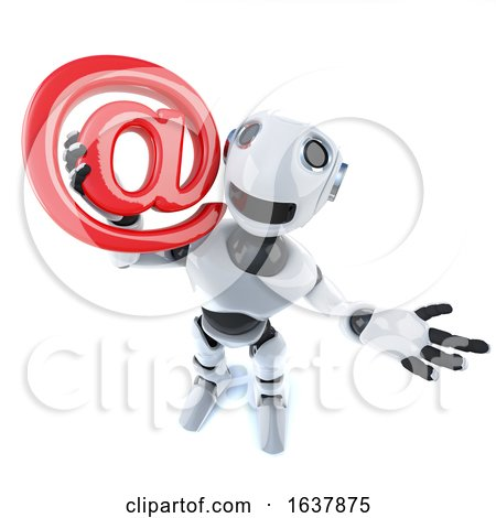 3d Funny Cartoon Mechanical Robot Character Holding an Email Adress Symbol, On a White Background by Steve Young