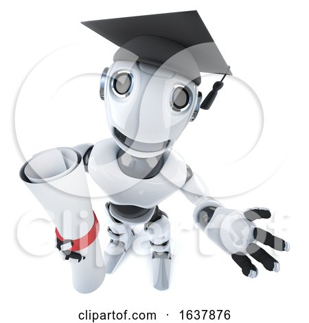 3d Funny Cartoon Robot Character Wearing a Graduate Mortar Board and Holding a Diploma, On a White Background by Steve Young