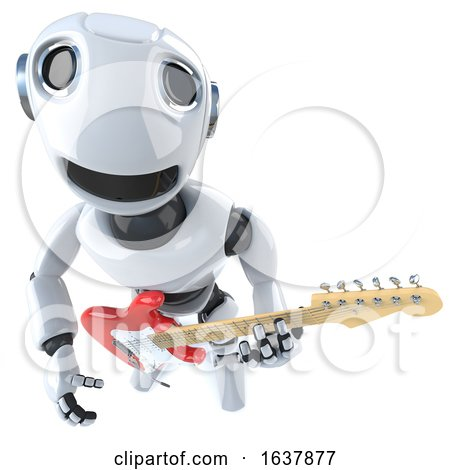 3d Funny Cartoon Robot Character Playing an Electric Guitar, On a White Background by Steve Young