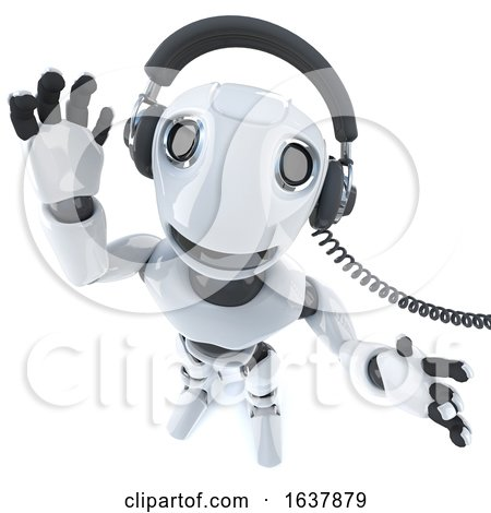 3d Funny Cartoon Robot Character Listening to Some Funky Music on Headphones, On a White Background by Steve Young