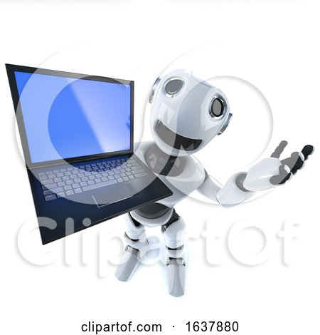 3d Funny Cartoon Robot Character Holding a Laptop Pc Computer Tablet Device, On a White Background by Steve Young