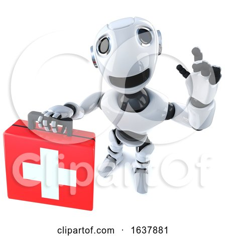 3d Funny Cartoon Robot Character Holding a First Aid Kit, On a White Background by Steve Young