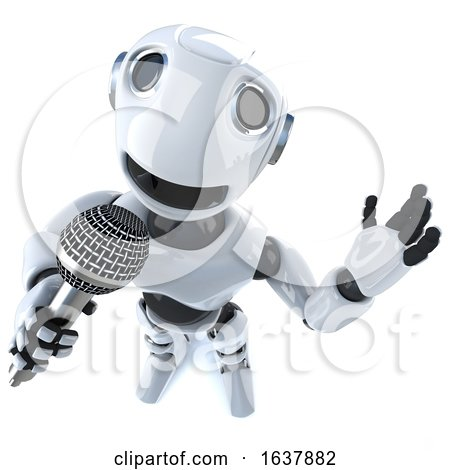 3d Funny Cartoon Robot Character Singing into a Microphone, On a White Background by Steve Young