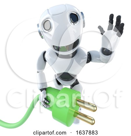 3d Funny Cartoon Robot Character Holding a Green Energy Power Lead, On a White Background by Steve Young