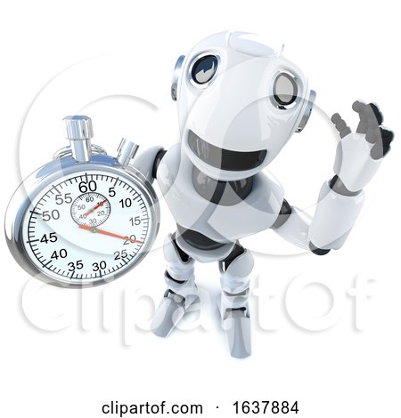 3d Funny Cartoon Robot Character Holding a Stopwatch, On a White Background by Steve Young