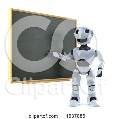 3d Robot Teaches at the Blackboard, On a White Background by Steve Young