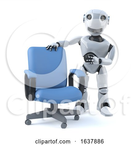 3d Robot Has an Empty Office Chair, On a White Background by Steve Young