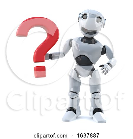 3d Robot Has a Question, On a White Background by Steve Young