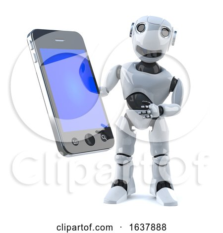 3d Robot Holds a Smartphone Tablet Device, On a White Background by Steve Young