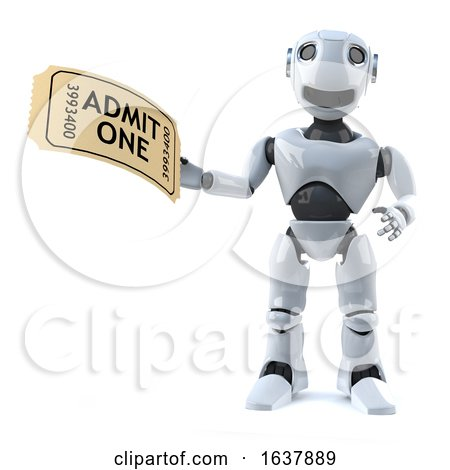 3d Robot Has a Ticket to the Event, On a White Background by Steve Young