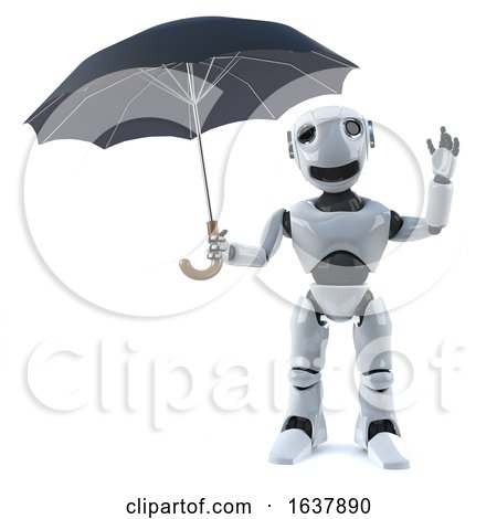 3d Robot Shelters Under an Umbrella, On a White Background by Steve Young