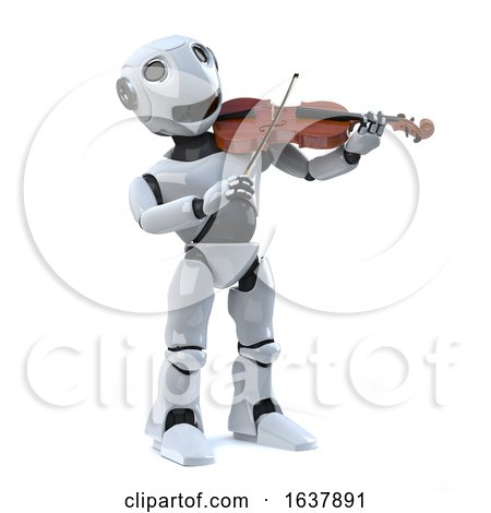 3d Robot Plays the Violin, On a White Background by Steve Young