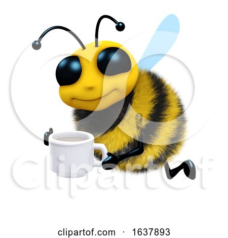 3d Tea Break Bee, On a White Background by Steve Young