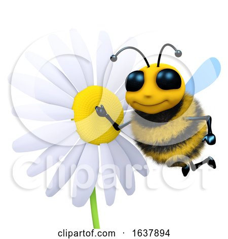 3d Bee and Flower, On a White Background by Steve Young