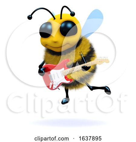 3d Bee Guitarist, On a White Background by Steve Young