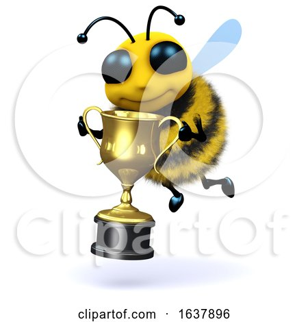 3d Bee Champion, On a White Background by Steve Young