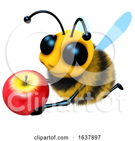 3d Funny Cartoon Honey Bee Character Holding a Juicy Apple, On a White Background by Steve Young