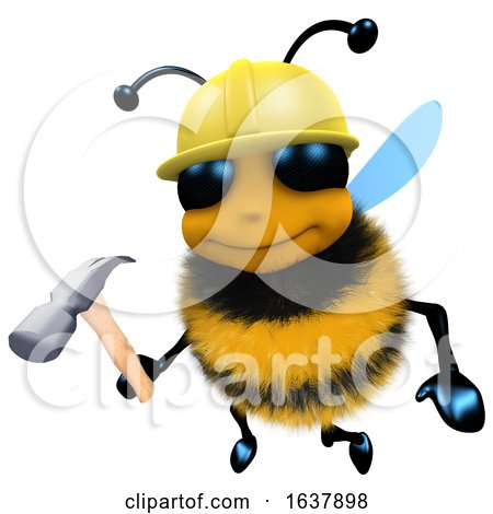 3d Funny Cartoon Honey Bee Construction Worker Character Holding a Hammer, On a White Background by Steve Young