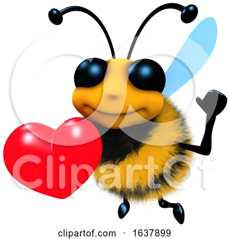 3d Funny Cartoon Honey Bee Character Holding a Romantic Red Heart, On a White Background by Steve Young