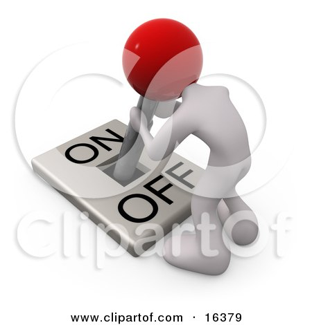 White Person With A Red Head Attached To An On/off Switch Lever, Crouching Over And Struggling To Turn The Switch On Posters, Art Prints