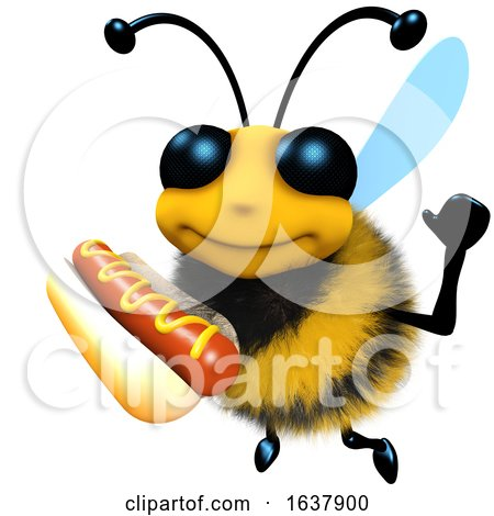 3d Funny Cartoon Honey Bee Character Holding a Hot Dog Snack Food, On a White Background by Steve Young