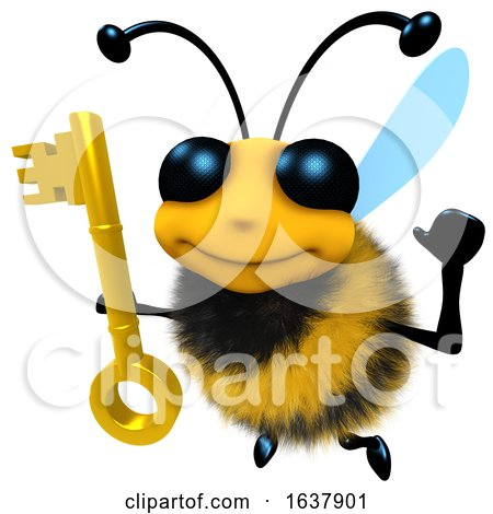 3d Funny Cartoon Honey Bee Character Holding a Gold Key, On a White Background by Steve Young