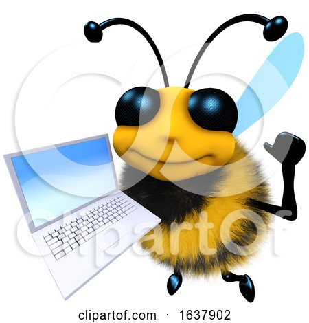 3d Funny Cartoon Honey Bee Character Holding a Laptop Pc Device, On a White Background by Steve Young