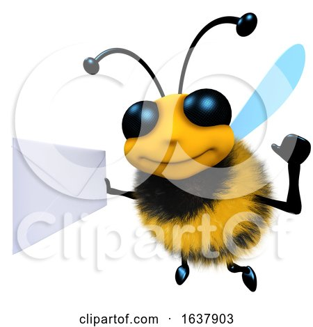 3d Funny Cartoon Honey Bee Character Holding an Envelope Message, On a White Background by Steve Young