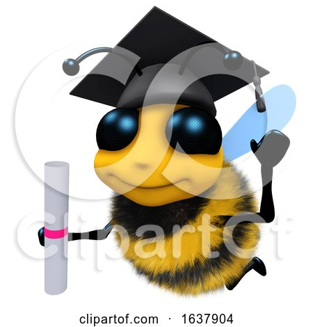 3d Funny Cartoon Honey Bee Character Wearing a Mortar Board and Holding a Diploma, On a White Background by Steve Young