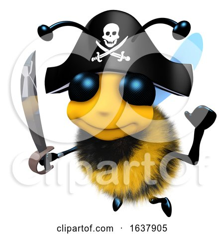 3d Funny Cartoon Honey Bee Character Wearing a Pirates Costume for Fun, On a White Background by Steve Young