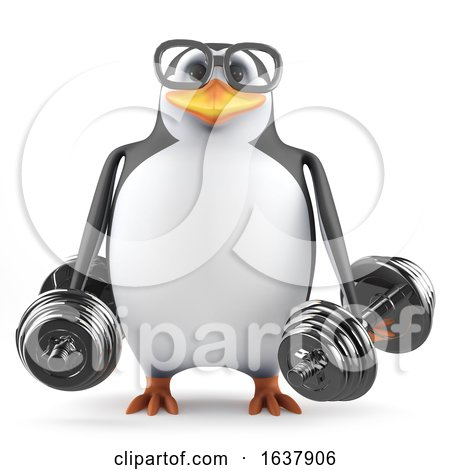 3d Acedemic Penguin Lifting Weights, On a White Background by Steve Young