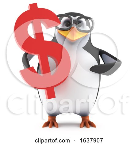 Funny Cartoon 3d Penguin Character Holding a USA Dollar Currency Symbol, On a White Background by Steve Young