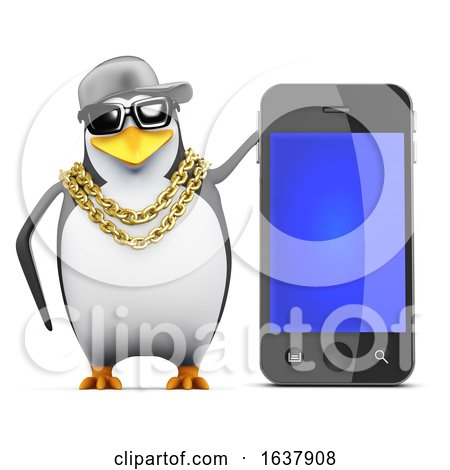3d Rapper Penguin with Smartphone, On a White Background by Steve Young