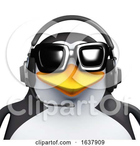 3d Penguin Call Centre Employee, On a White Background by Steve Young