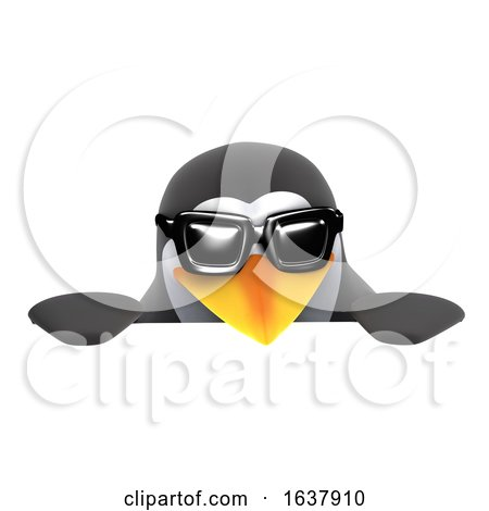 3d Penguin Wearing Sunglasses over a Sign, On a White Background by Steve Young