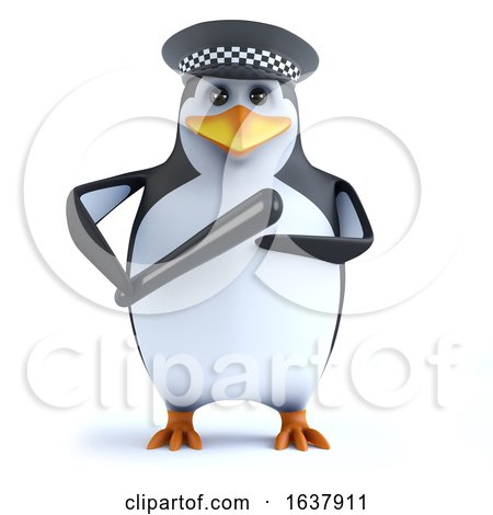 3d Funny Cartoon Penguin Policeman Character Holding a Truncheon, On a White Background by Steve Young