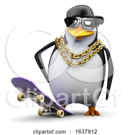 3d Rapper Penguin Ready to Skate, On a White Background by Steve Young