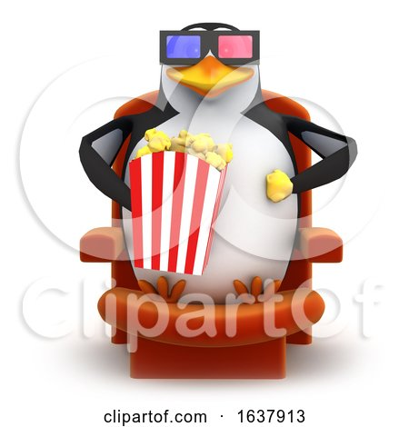 Funny Cartoon 3d Penguin Character Eating Popcorn and Wearing 3d Glasses, On a White Background by Steve Young