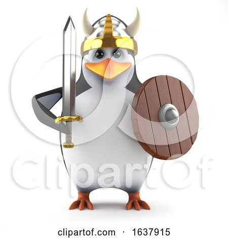 3d Mighty Academic Penguin Viking Warrior, On a White Background by Steve Young