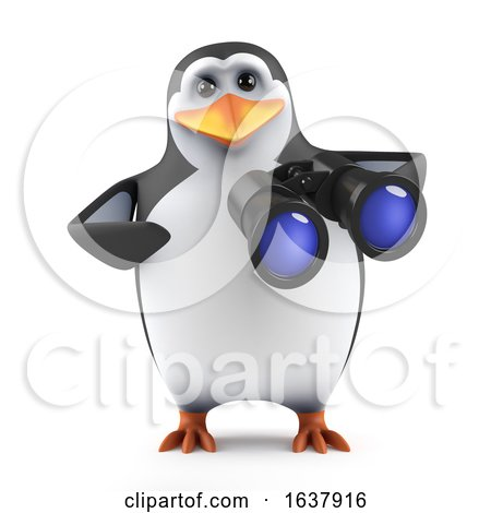 3d Penguin with Binoculars, On a White Background by Steve Young