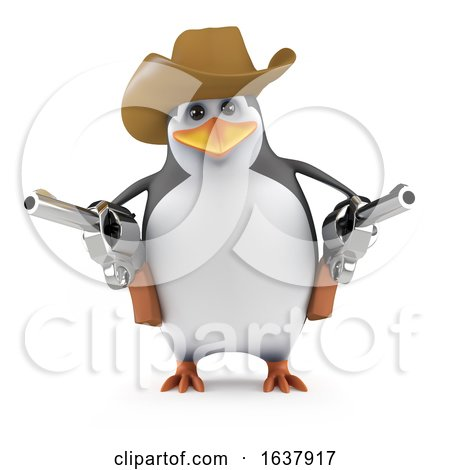 3d Penguin Quick Draw, On a White Background by Steve Young