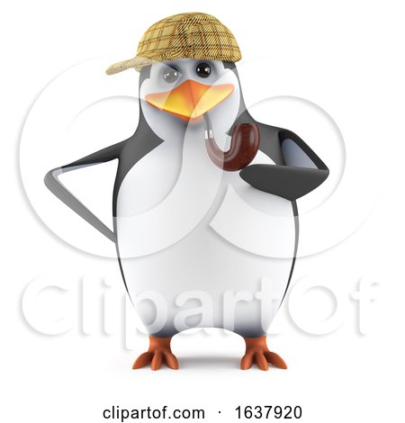 3d Penguin Sherlock, On a White Background by Steve Young