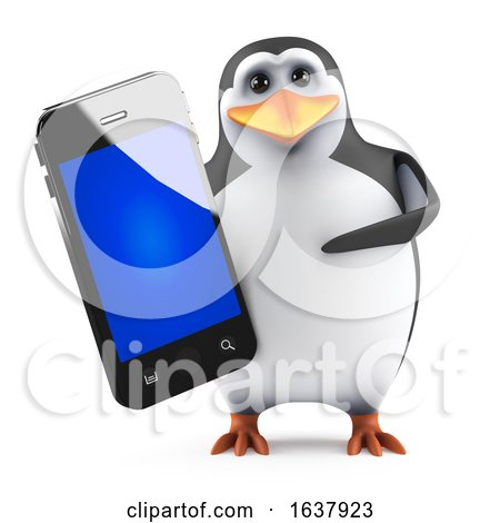 3d Penguin with Smartphone, On a White Background by Steve Young